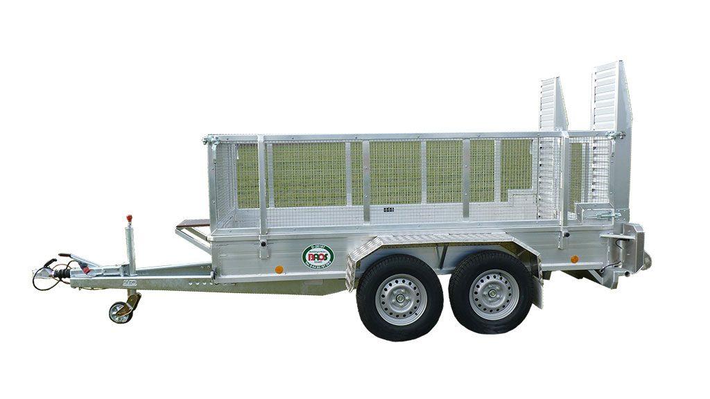 Minibagger Anhänger mit Gitteraufsatz