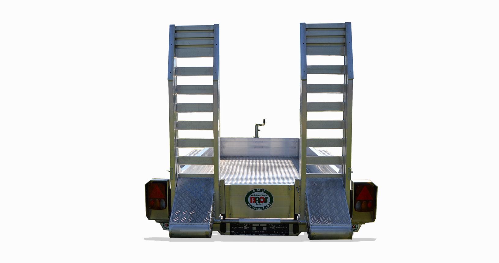 Minibagger Anhänger winddurchlässige Schienen