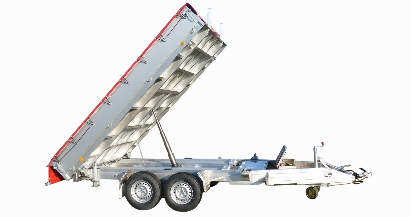 Dreiseitenkipper aus Aluminium mit Rollplane