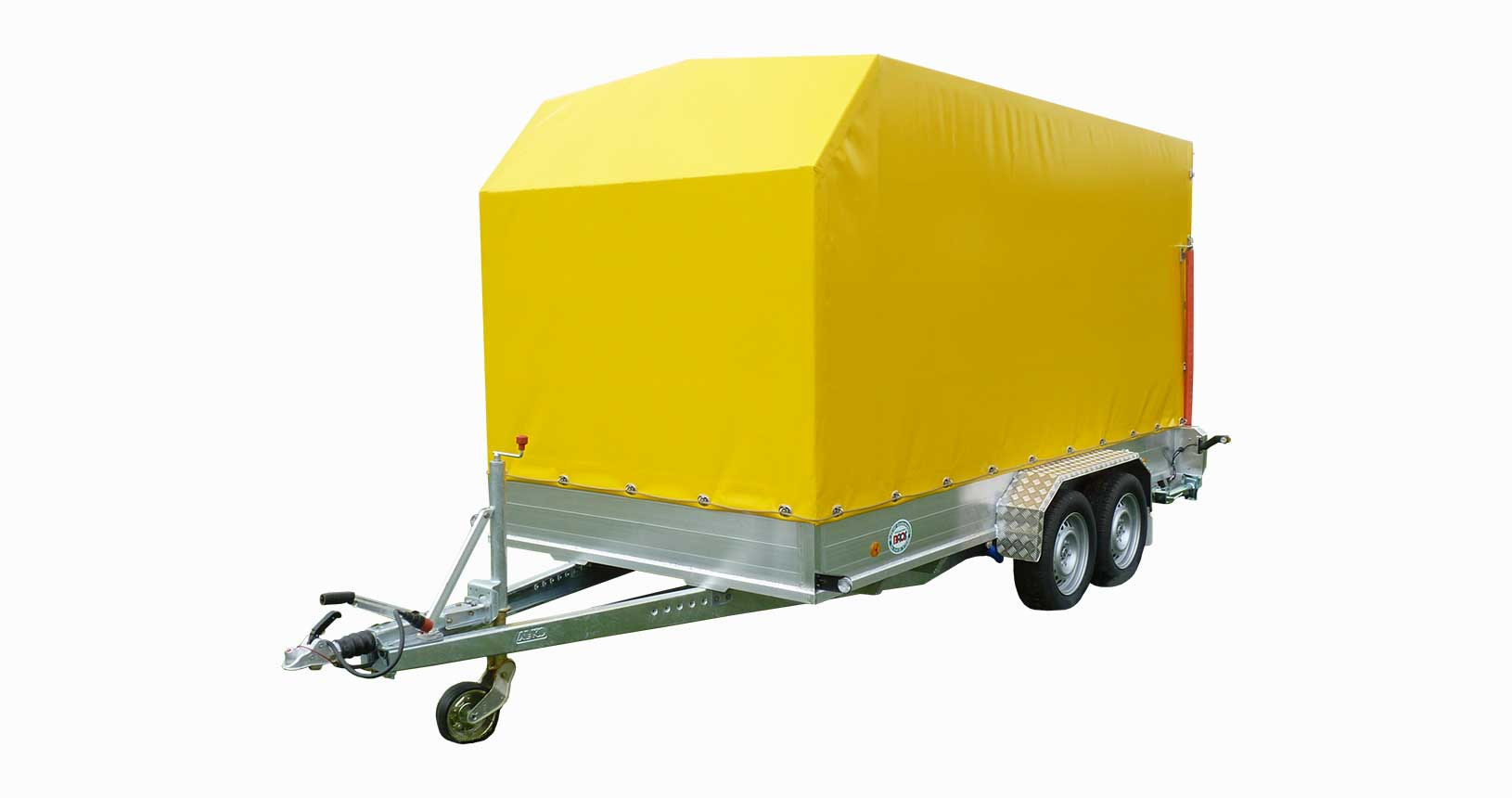 Kastenanhänger mit Hochplane gelb