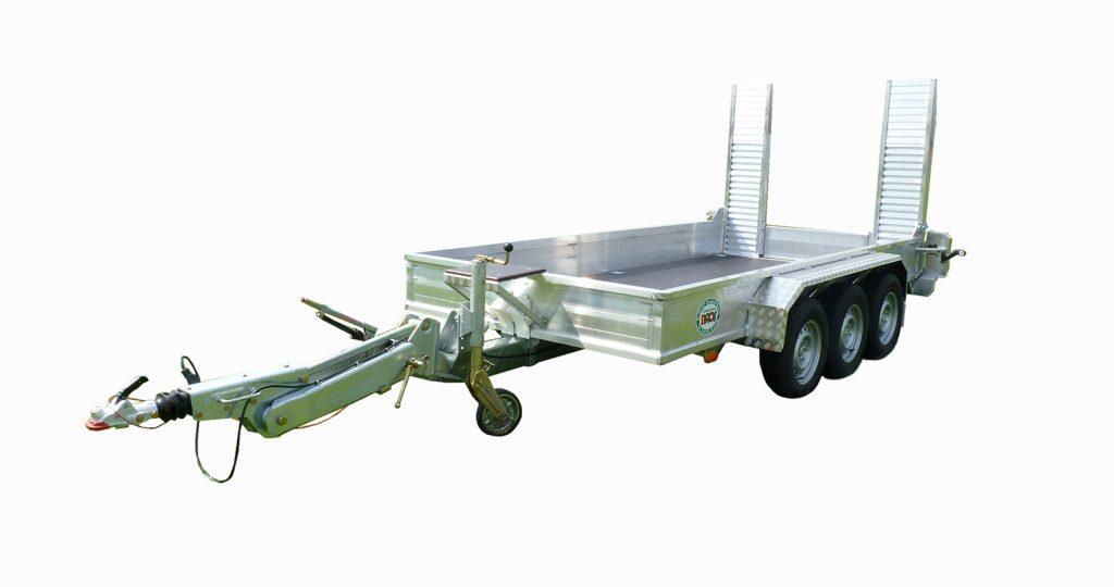 Minibagger Anhänger Tridem Deichsel höhenverstellbar
